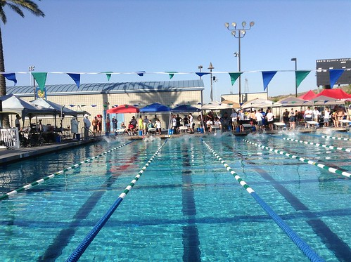 View of a backstroke start at the 2013 SPMS SCY Champs at Santa Clarita